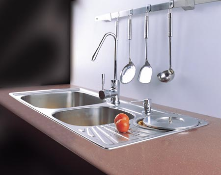 厨房不锈钢带花纹台面效果图